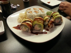 My sushi dinner at Ginger Lime restaurant in New Orleans, LA.